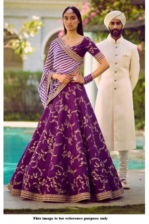 Bollywood Sabyasachi Mukherjee Inspired Malai satin Violet lehenga