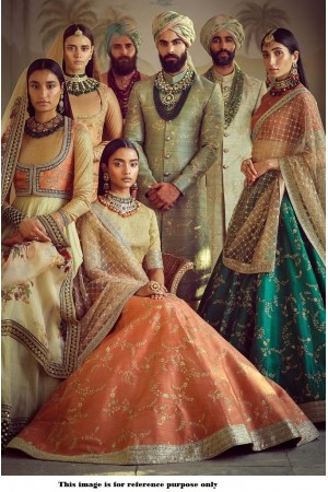 Bollywood Sabyasachi Mukherjee Inspired art silk orange lehenga