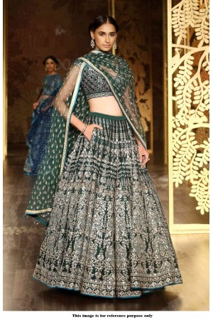 Bollywood Anita Dongre Inspired Dark Green Lakme fashion wedding lehenga