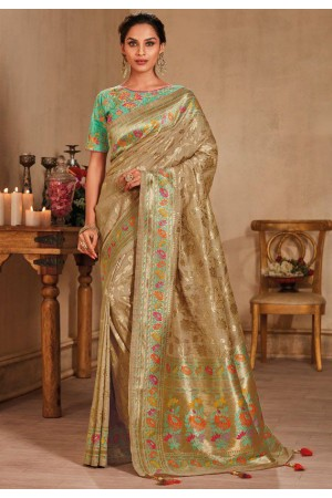 Beige color silk Indian wedding saree 928