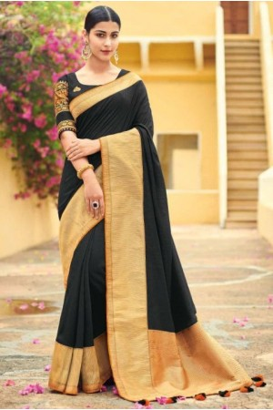 Black banarasi weaving silk Indian wedding saree 1011