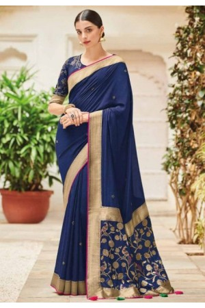 Blue banarasi weaving silk Indian wedding saree 1005