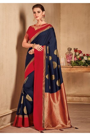 Blue color silk Indian wedding saree 933