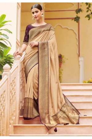 Chikoo banarasi weaving silk Indian wedding saree 1004