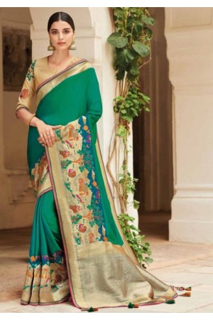 Green banarasi weaving silk Indian wedding saree 1003