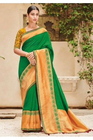 Green banarasi weaving silk Indian wedding saree 1006