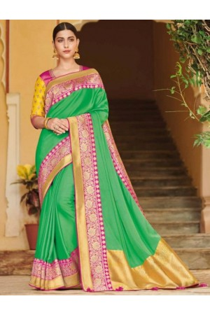 Green banarasi weaving silk Indian wedding saree 1008