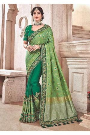 Green fancy silk Indian wedding saree 2304