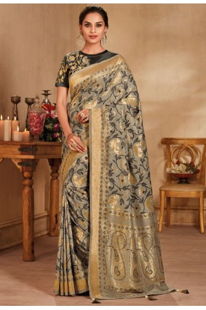 Grey color silk Indian wedding saree 926