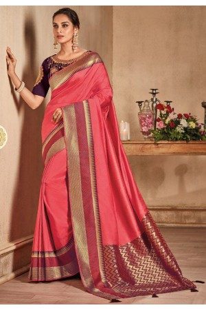Light Pink color silk Indian wedding saree 930