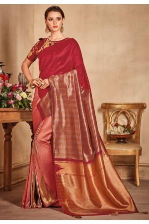 Maroon color silk Indian wedding saree 935