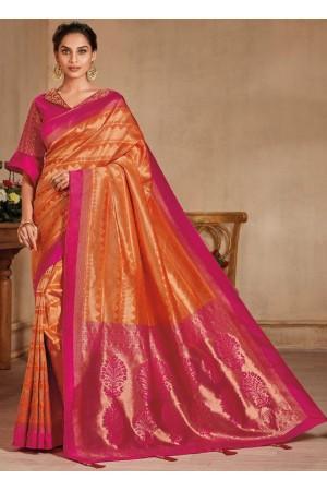 Orange color silk Indian wedding saree 934