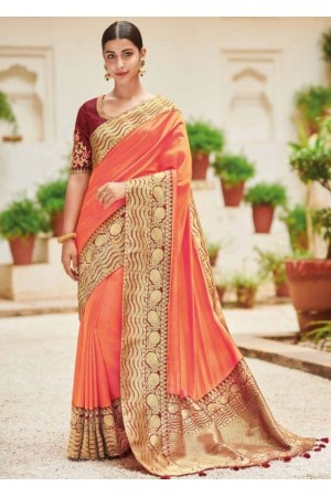 Peach banarasi weaving silk Indian wedding saree 1002