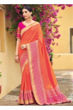 Peach banarasi weaving silk Indian wedding saree 1007