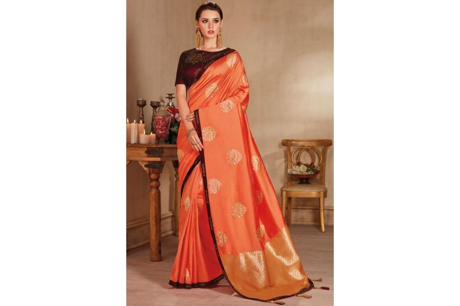 cb45b06767 Peach color silk Indian wedding saree 927