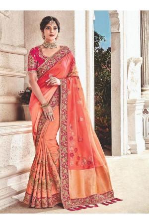 Peach fancy silk Indian wedding saree 2305