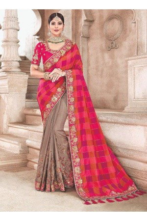 Pink beige fancy silk Indian wedding saree 2301