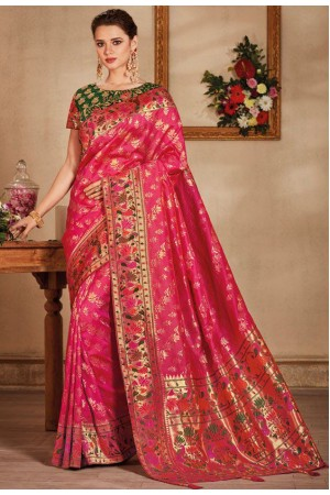 Pink color silk Indian wedding saree 929