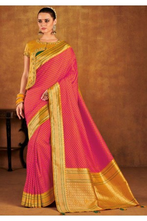 Pink color silk Indian wedding saree 939