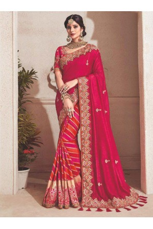 Pink fancy silk Indian wedding saree 2303