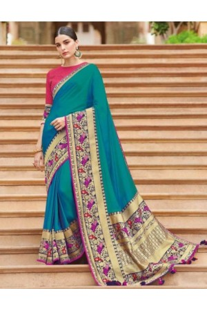 Teal banarasi weaving silk Indian wedding saree 1001