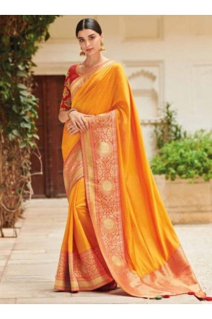 Yellow banarasi weaving silk Indian wedding saree 1010