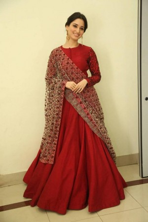 Bollywood style Tamanna Bhatia red color japan crepe anarkali