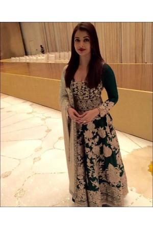 Bollywood style Aishwarya Rai green joya silk anarkali