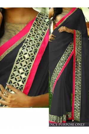 Black color Nylon georgette designer party wear saree