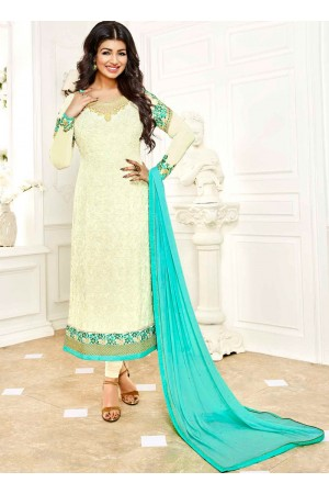 Ayesha Takia Cream and skyblue color georgette salwar kameez