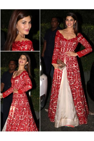 Bollywood style Jacqualine Fernandez cream color bhagulpuri silk gown