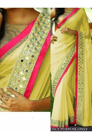 Yellow color Nylon georgette designer party wear saree