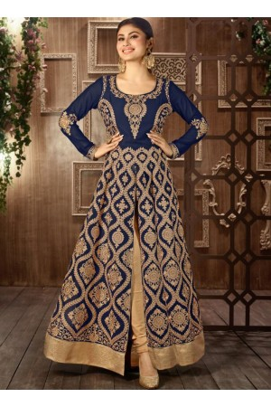Navy blue color georgette embroidered party wear anarkali
