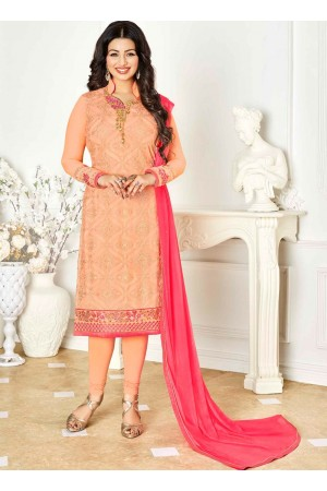 Ayesha Takia peach and pink color georgette salwar kameez