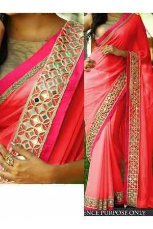Pink color Nylon georgette designer party wear saree