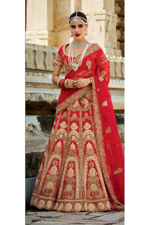 Red color silk bridal lehenga choli