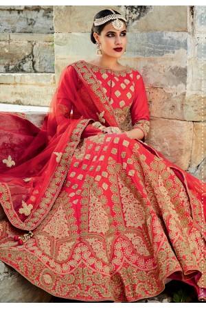 Red color silk bridal lehenga choli
