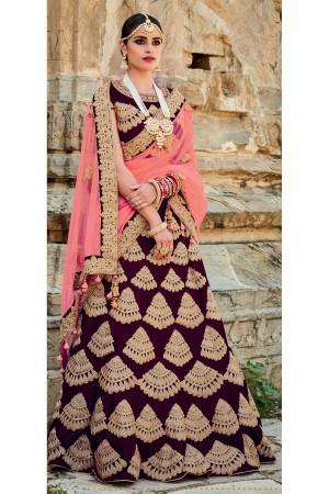 Purple and peach color velvet bridal lehenga choli