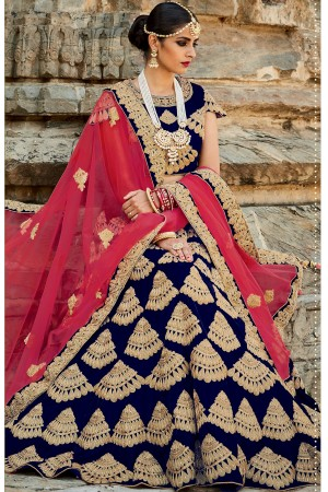 Navy blue and pink color velvet bridal lehenga choli