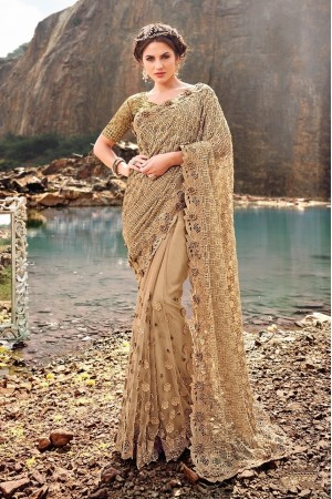 Gold color digital net diamond and moti wedding wear saree