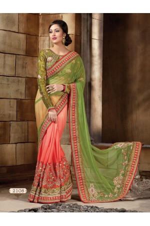 Green and pach Lycra and Art silk Designer Saree