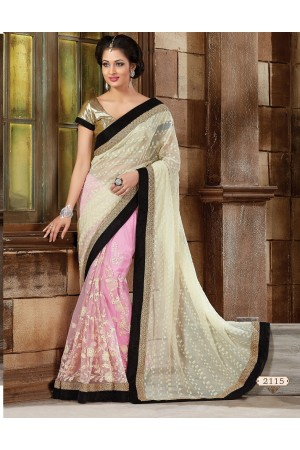 Off white Net   Designer Saree