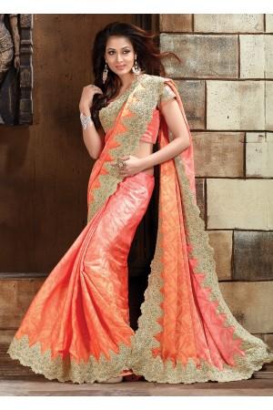 Peach Pure jaquard Designer Saree