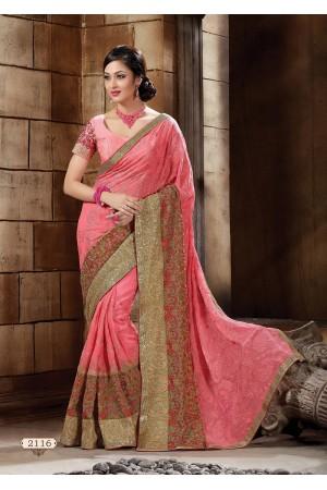Pink Pure Bemberg kasmiri work Designer Saree