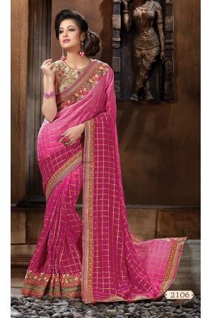Pink Pure bemberg Designer Saree