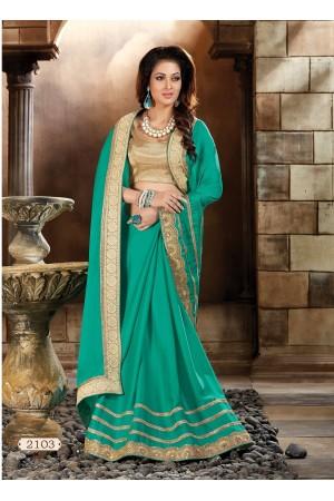 Turquoise Art silk Designer Saree