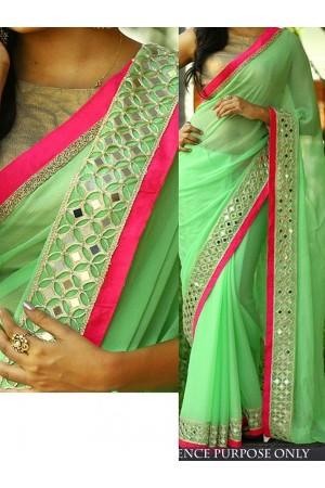 Pista Green color Nylon georgette designer party wear saree