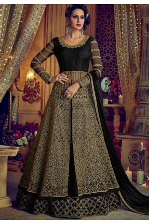 Black net and banglori silk party wear Lehenga kameez