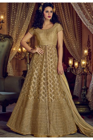 Chiku color Net and Banglori silk party wear Lehenga kameez
