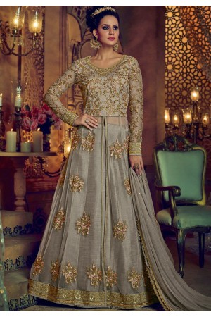 Dusty grey net and banglori silk party wear Lehenga kameez